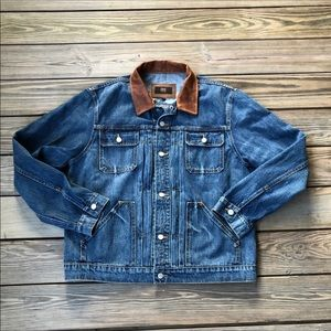 Frye Otis Denim Trucker Jacket Leather Collar